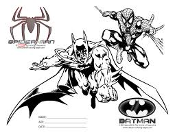Batman And Spiderman Coloring Pages Black White