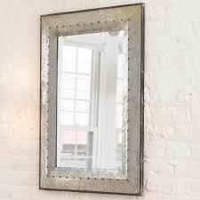 Industrial Modern Bathroom Mirrors by Metal Industrial Rivet Mirror Industrial Metals And Dark