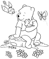 Winnie The Pooh Coloring Pages In Garden Free To Print