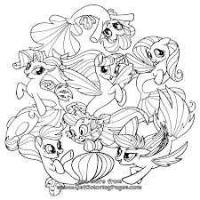My Little Pony Movie 2017 Coloring Pages Seaponies Mane 6
