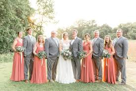Rustic Wedding Grey Groomsmen Suits And Rusty Rose Bridesmaid Dresses Matching Bridal Party