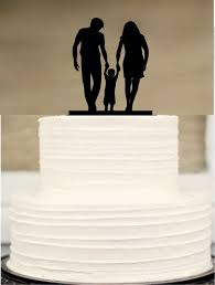 Silhouette Wedding Cake Topper Funny Bride And Groom Little Boy Family TopperRustic