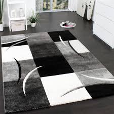 designer teppich mit konturenschnitt muster kariert in