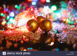 Christmas Decorations Isolated On Black Glass Balls And Lights
