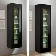 details zu wohnzimmer vitrine vitrinenschrank anrichte hochglanz schwarz led hängeschrank