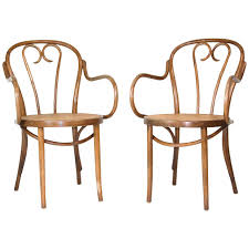 Thonet Bentwood Chair Cane Seat by Pair Of Vintage Michael Thonet Design Cane Bentwood Armchairs For