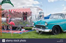 100 Antique Airstream American Airstream Caravan And 1955 Chevrolet Belair At A Vintage