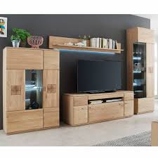 tv wohnwand wohnzimmer badalona 05 aus massivholz eiche bianco fronten gerundet b h t 330 208 50cm