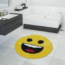 badezimmer teppich emoji design gelb