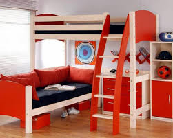 Appealing Small Kids Room Ideas With Wooden Loft Beds And Couch Using Frames Plus Red
