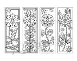 Blooming Spring Coloring Bookmarks Page Instant Download Relax Mandala Designs To Color For Adults Print And