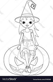 Little Halloween Witch Coloring Page Vector Image
