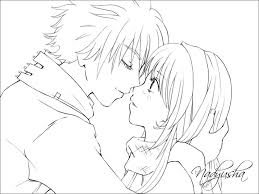 Emo Anime Couples Coloring Pages Cute Couple