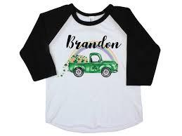 100 Green Truck Boy St Patricks Day Shirt Onesie Raglan Shamrock