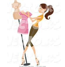 High Resolution Royalty Free Vector Graphic Of Girl Dressing A Mannequin This Fashion Stock Image 3548 Was Designed By BNP Design Studio