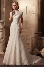 Elegant Vintage Inspired High Collar Short Sleeve Mermaid Ivory Lace Wedding Dress 1
