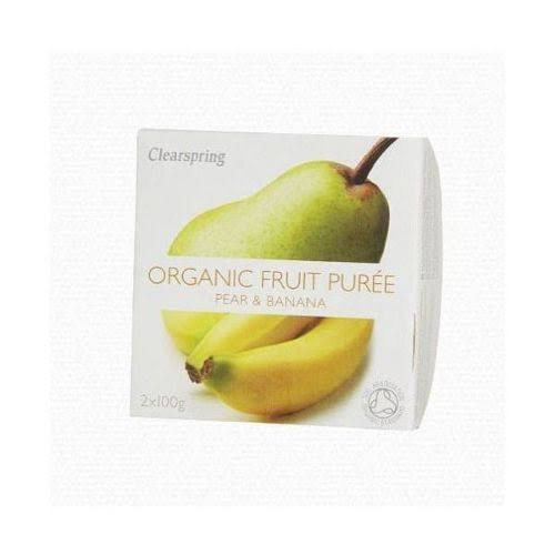 Clearspring Organic Fruit Puree - Pear and Banana, 2 x 100g