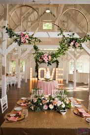 Rustic Wedding Gorgeous Reception Area At Spain Ranch Pink And Gold Color Schemes Floral Wooden Center Pieces