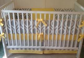 crib bedding set gray white yellow by butterbeansboutique yellow