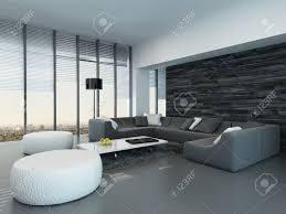 geneigte perspektive eines modernen grauen und weißen wohnzimmer innenraum mit hocker und einem großen sofa vor der vom boden bis zur decke