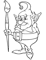 Christmas Coloring Page Elf Holding Paintbrush