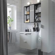 enhet tvällen badeinrichtung 18 tlg weiß anthrazit ensen mischbatterie 64x43x65 cm