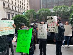 100 Roadshow Trucking Lyft Drivers Are Protesting Outside The San Francisco Hotel Where
