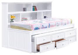 Natasha Twin Size Bookcase Captain s Bed White Transitional