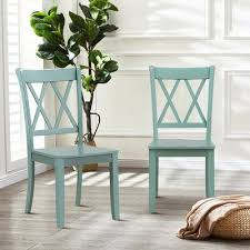 100 Foti Furniture Longshore Tides Solid Wood Cross Back Side Chair In Green Shopstyle