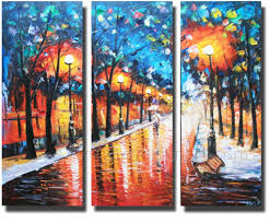 Framed 3 Piece Canvas Wall Art Handpainted Home Decoration Landscape Oil Painting Free Shipping