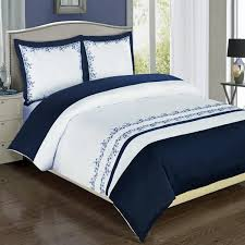 Buy Modern Navy Blue White Embroidered Cotton Bedding Duvet Cover