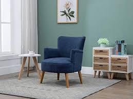 the one kara sessel aus blauem stoff beine aus massivholz