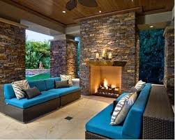 Outdoor Stone Fireplace Lrge Contemporry Bckyrd Ptio Ornge Stone
