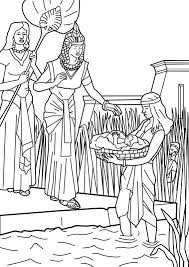 Baby Moses Found By Pharaohs Daughter In The Reeds Bible Coloring Page