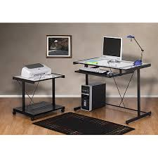 Walmart Computer Desk With Side Storage by Computer Desk And Printer Cart Value Bundle Black Metal And Glass