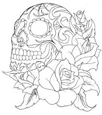 Roses Coloring Pages Printable Free Skulls Paint Numbers Adults Bouquet Hearts