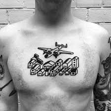 Airplane Flying Over City Guys Simple Chest Tattoo