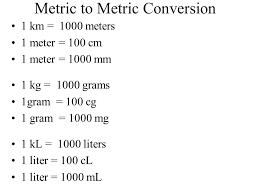 100 milliliters to liters metric measurements ppt