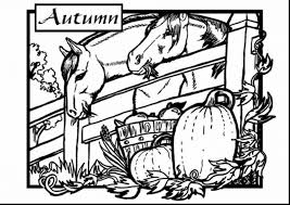 Surprising Fall Coloring Pages Printable Stable Autumn Kids Colouring With And