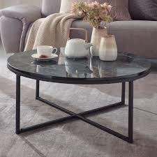 couchtisch 80x36x80 cm mit marmor optik schwarz wohnzimmertisch mit metall gestell sofatisch rund tisch wohnzimmer beistelltisch möbel und