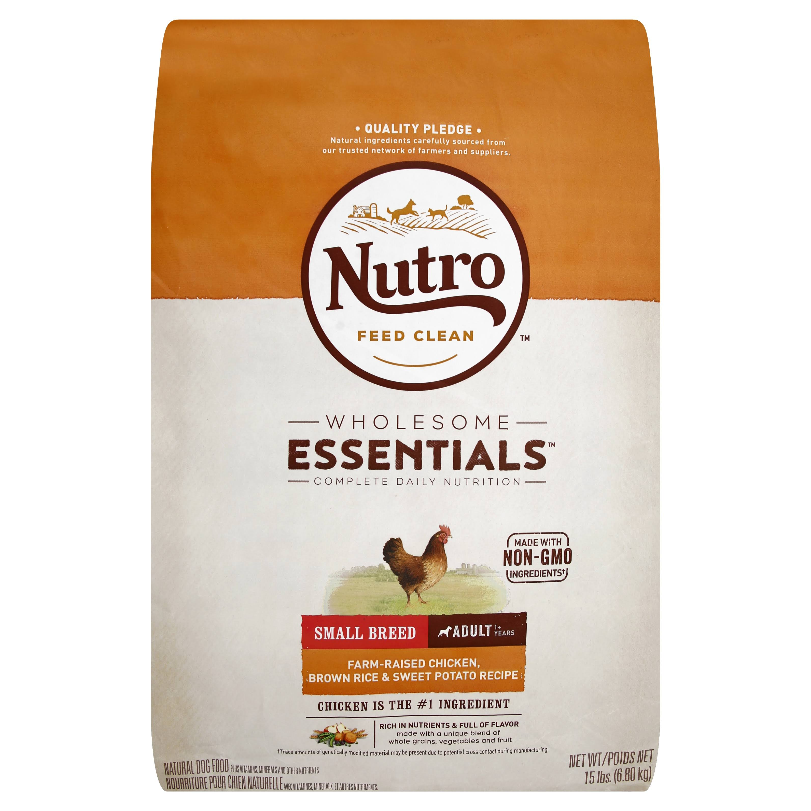 Nutro Small Breed Adult Dog Food - Chicken, Whole Brown Rice & Oatmeal Recipe, 15 lbs