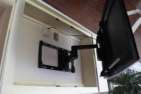 outdoor tv cabinet arm extended