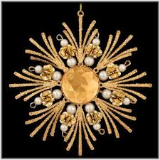 Gold Snowflake With Pearls Ornament