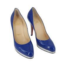christian louboutin cobalt blue and silver closed toe platform