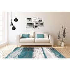 flachflor teppich modern wohnzimmer vintage design streifen blau grau 80x150cm
