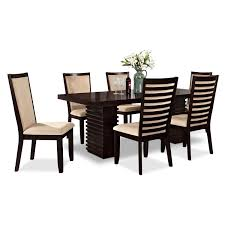 paragon table and 6 chairs merlot and camel value city furniture