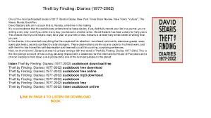 Theft By Finding Diaries 1977 2002 Audiobook Free Online One Of The Most Anticipated Books 2017 Boston Globe New York Times Book
