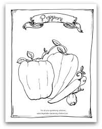 Free Vegetable Garden Coloring Book Printable Pepper Page