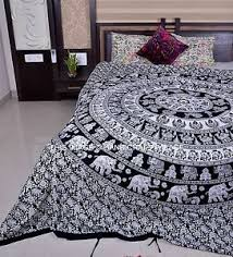 Black & White Elephant Mandala Duvet Cover Indian Queen Size Quilt