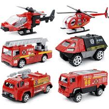 JQGT 6 In 1 Pocket Fire Engine Truck Rescue Vehicle Toy Play Set For ...